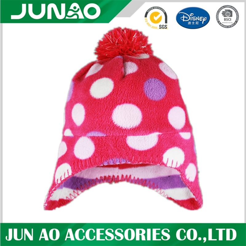 pattern fleece hat with ball
