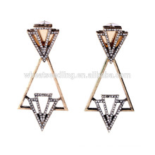 Geometrie Dreieck hängende ethnische Diamant Dangler Ohrringe
