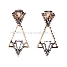 Triángulo de la geometría colgando pendientes étnicos del dangler del diamante