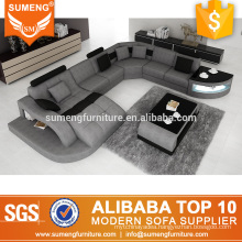 SUMENG modern fabric sofa set pictures with LED light