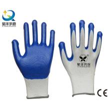 13G Nitrilweiß Polyester Shell, blau Nitril beschichtet, Arbeitshandschuhe (N7005)