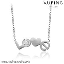 43516-vente en gros de bijoux de mode en acier inoxydable gravé coeur collier de charme