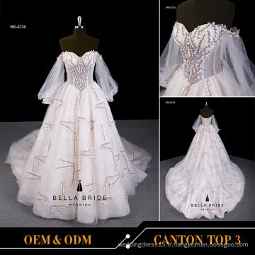 2017 nouvelle conception robe de mariée manches longues robe de mariée pour la mariée