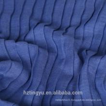 Écharpe en coton imprimé de couleur unie imprimée plissée Hijab en plaid plissé