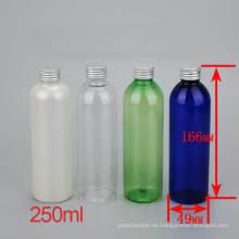 250ml coloridos de aluminio casquillo de plástico para mascotas boca de plástico tapa botella de loción