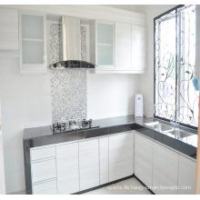Einfache Entwürfe hölzerner Küche-Kabinett PVC-Küche-Schrank