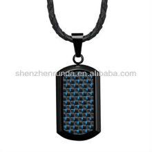 Wolesale aço inoxidável Dog Tag pingente com fibra de carbono azul em couro genuíno colar Vners
