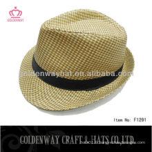 Cheap Paper Fedora Hat design classique pour homme pour gros