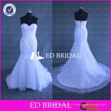 Новое Прибытие Тяжелых Бисером Милая Русалка Белый Органзы Свадебное Платье 2017