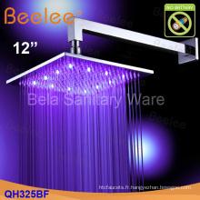 """Économie d'eau fixée au mur 12 """"Pomme de douche en laiton de précipitations de LED (Qh325bf)"""