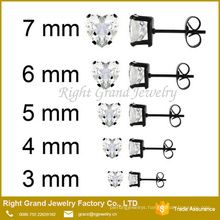 Stainless Steel Black Plated Prong Set Clear Heart Cubic Zircon Earrings Designs