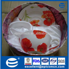 gold rim poppy decal fine bone china 200cc cup and saucer in gift box
