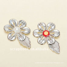 crystal pearl plated flower metal charms