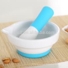 Juego de herramientas de cocina de silicona con mango de silicona y base de silicona antideslizante
