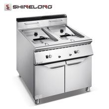 Gama de cozinha central da série 900 Máquina de fritadeira industrial a gás / elétrico com 2 tanques de 2 peças
