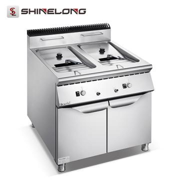 Machine à frire industrielle à gaz et électrique de la cuisinière centrale série 900 avec 2 bacs à 2 réservoirs