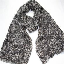 Special design leopard pattern print long scarf  fringe on four side super soft hand feeling