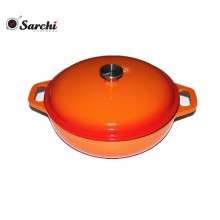 Factory Direct Cast Iron Enamel Shallow Casserole Dish