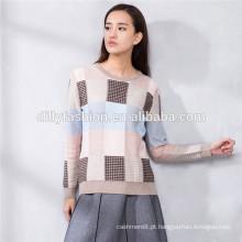 100% cashmere sweater tricô mulheres jacquard jumper