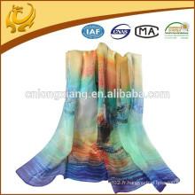 Nouvelle mode féminine Longueur en mousseline de soie douce enveloppe Shawl, 100% écharpe en soie pour dames