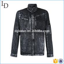 Специальные промывают черный негабаритных джинсовая куртка плюс Размер Denim блейзер