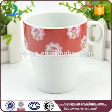Fábrica China White Ceramic Coffee Cup Caneca Decalque de flor vermelha