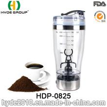 Botella plástica portátil de la coctelera de la proteína del vórtice de 450ml, botella eléctrica plástica modificada para requisitos particulares de la coctelera de la proteína (HDP-0825)