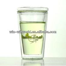 Borosilicate Single Walled Customered Glass Mug With Lid