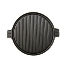 plaque chauffante / rôtissoire réversible ronde en fonte extra-robuste