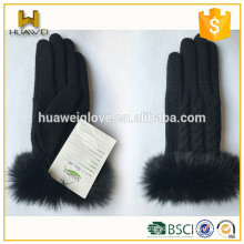 Cute Ladies Black Woolen Knitted Gloves with Rabbit Fur Cuff