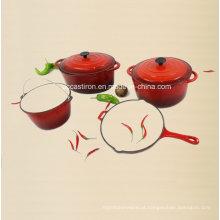 A fábrica aprovada Ce do cookware do ferro fundido 4PCS