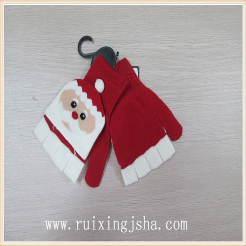 Kids chrismas pattern flip top gloves