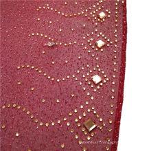 Mode élégant exquis imprimé perles de pierre en mousseline de soie arabe hijab plaine foulard musulman dubai