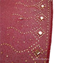 Fashion elegant exquisite printed stone beads silk chiffon arabic hijab plain dubai muslim scarf