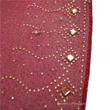 Moda elegante requintado impresso grânulos de pedra de seda chiffon árabe hijab planície dubai lenço muçulmano