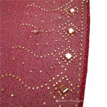 Мода элегантный изысканный печатный камень бисером шелк шифон арабский Дубай мусульманский шарф хиджаб равнина