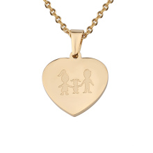 Stainless Steel Gold Engraving Family Member Heart Pendant Necklace