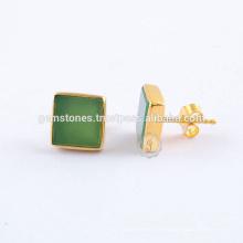 Boucles d'oreilles en pierres précieuses plates naturelles Chrysoprase en vert naturel, plaqué or Bracelet en pierres précieuses