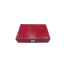 Red Crocodile Paper Wrapped Wooden Watches Jewelry Box (WB-RCX1)