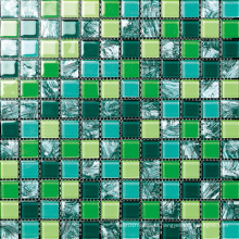 Hand Painting Green Color Glass Mosaic