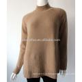Jersey de jersey grueso de cachemira de invierno de cuello alto 7GG para dama