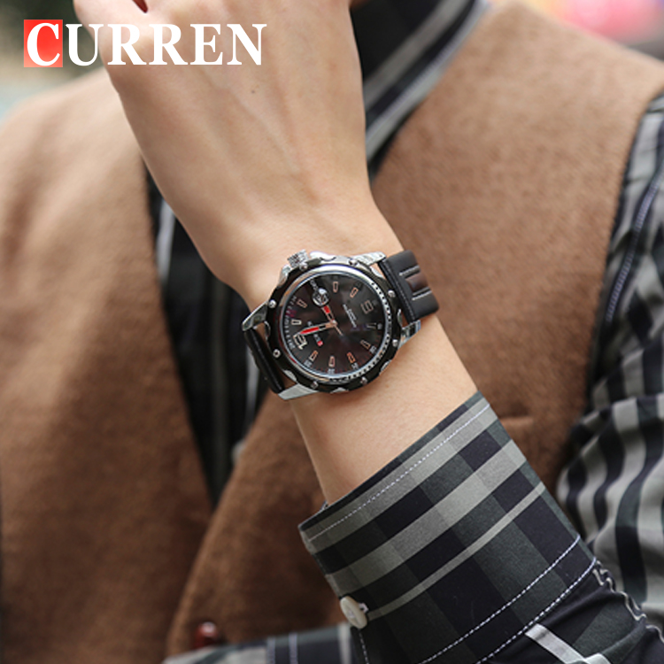 mixed color leather belt curren business watch mande in prc