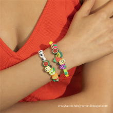 European and American Fashion Jewellery Jewelry Ins Mix and Match Colorful Fruit Rice Bead Beaded Bracelet Set Bracelet for Women
