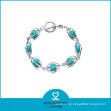 Moda delicada prata pulseira de jóias de turquesa (SH-B0003)