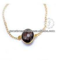 Großhandelslieferant handgemachtes rauchiges Quarz-Gold überzogenes silbernes Armband