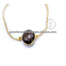 Wholesale Supplier Handmade Smoky Quartz Gold Plated Silver Bracelet