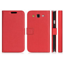 Soft Leather Wallet Phone Cases Red For Samsung Galaxy Grand 2 G7105