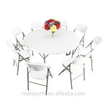 Niceway portable White Plastic Folding Table Fold-In-Half Round Table 12 Seater Out Furniture