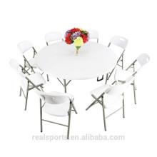 Mesa dobrável de dobramento plástica branca portátil da tabela de Niceway Dobro-Em-Metade da mesa redonda 12 Seater para fora mobília