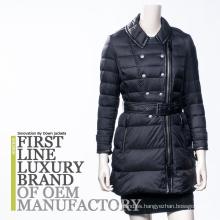 2016 Brand Design mujeres rusas con capucha larga Outwear abrigo de ganso con cinturón